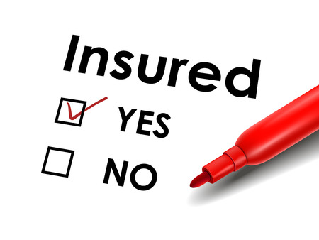insured: close up look at red pen marking on the check box yes for the insured paper Illustration