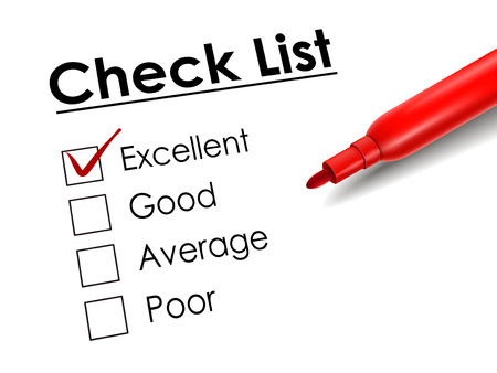 excellent: tick placed in excellent check box with red pen over check list Illustration