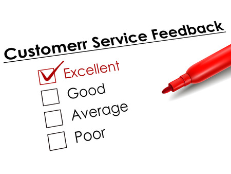 excellent service: tick placed in excellent check box with red pen over customer service feedback