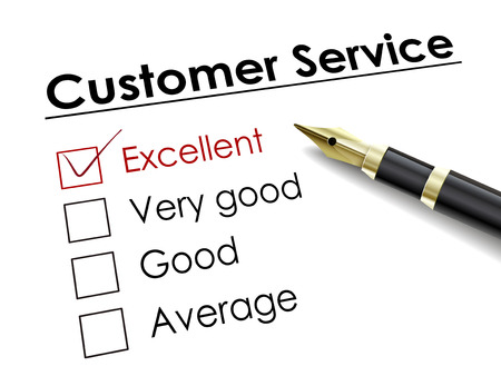 good service: tick placed in excellent check box with fountain pen over customer service