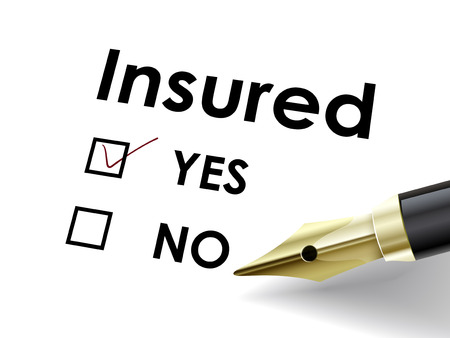 insured: close up look at fountain pen marking on the check box yes for the insured paper
