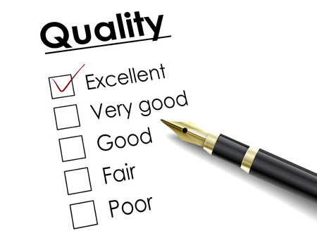 check box: tick placed in excellent check box with fountain pen over quality survey