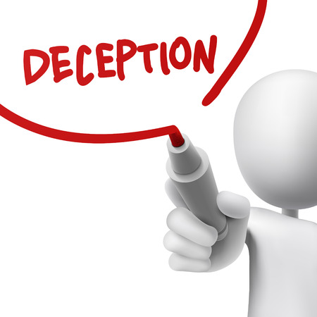 deceit: deception written by a man over white background