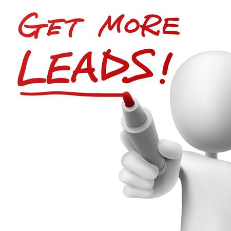 Eine Person schreibt die Worte zu mehr Leads mit einem roten Marker Standard-Bild - 30595601