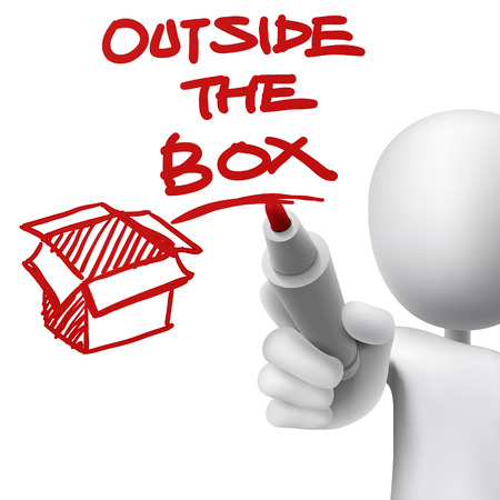 problemsolving: outside the box written by a man over white background