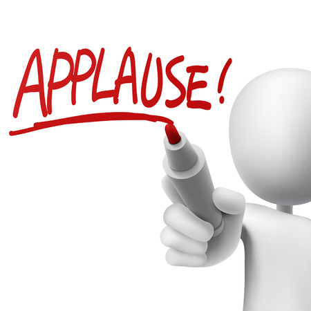 adulation: applause written by a man over white background Illustration