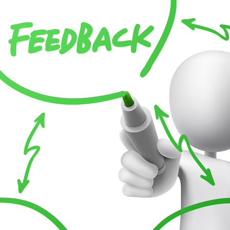 feedback concept drawn by a man over white background Vector