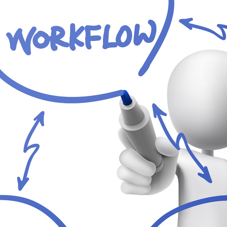 dry erase: workflow concept drawn by a man over white background Illustration