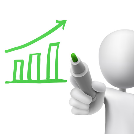 growth bar chart drawn by a man over white background Vector