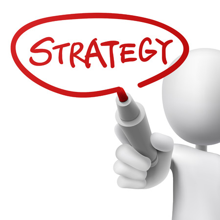 strategy written by a man over white background Illustration