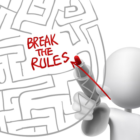 break the rules drawn by a man over white background Vector