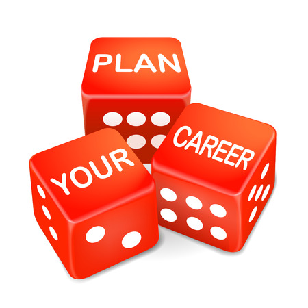chief executive officers: plan your career words on three red dice over white background