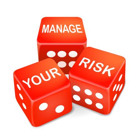 zarządzać słowa ryzyka na trzech kości czerwony na białym tle