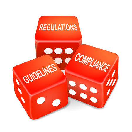 regulations, guidelines and compliance words on three red dice over white background