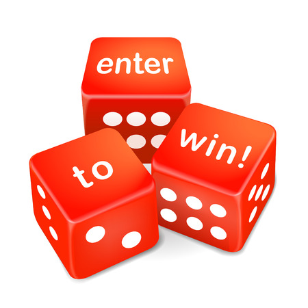 wager: enter to win words on three red dice over white background Illustration