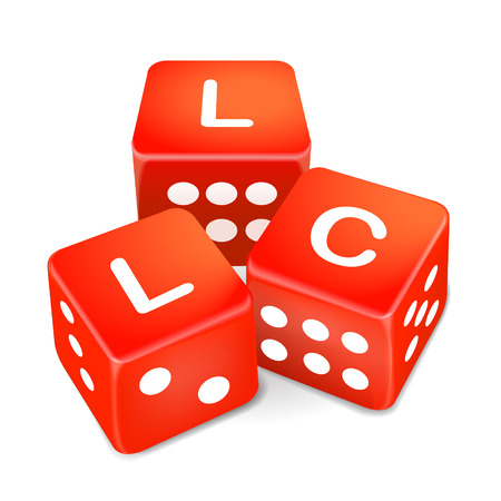 incorporate: limited liability company words on three red dice over white background