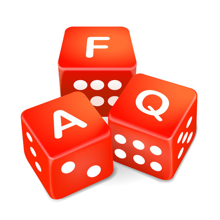 frequently asked questions words on three red dice over white background Vector