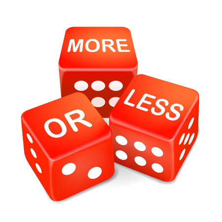 estimating: more or less words on three red dice over white background Illustration
