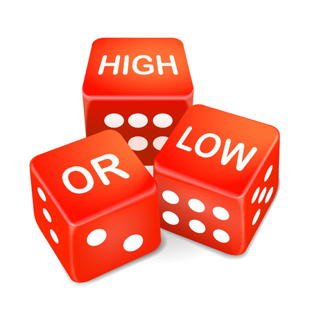 high or low words on three red dice over white background Ilustração