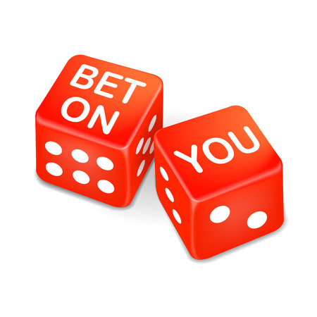esteem: bet on you words on two red dice over white background Illustration