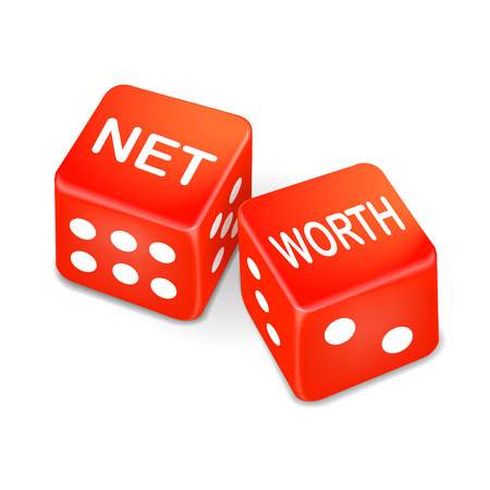 net income: net worth words on two red dice over white background