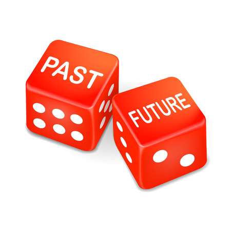 past and future words on two red dice over white background