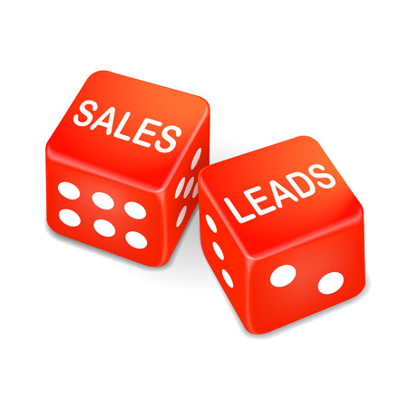 odds: sales leads words on two red dice over white background