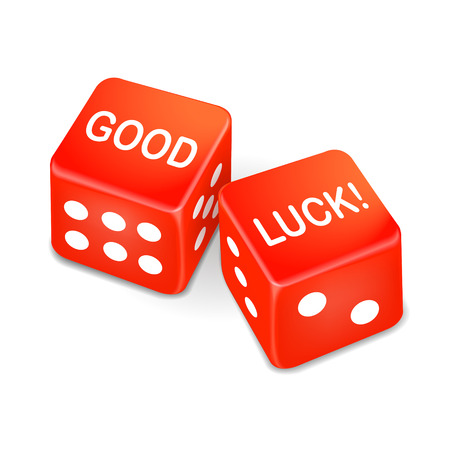 good luck: good luck words on two red dice over white background