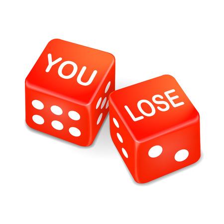 jack pot: pierdes palabras en dos dados de color rojo sobre fondo blanco