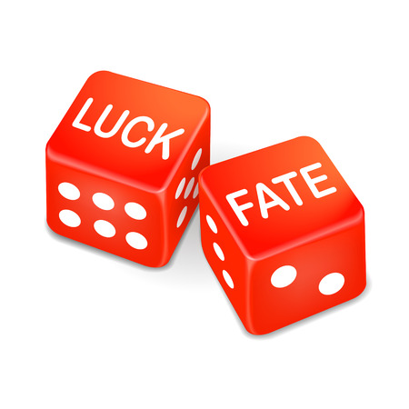 fate: luck and fate words on two red dice over white background Illustration