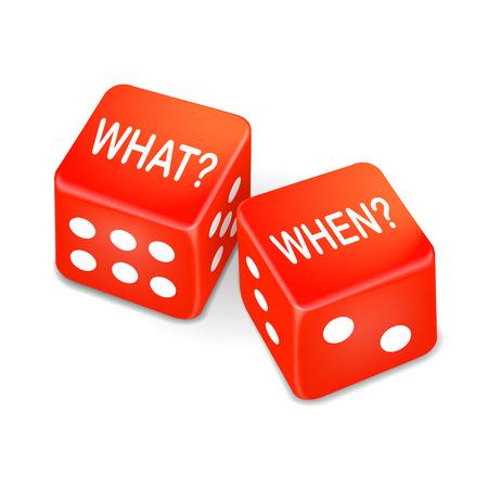 jack pot: qu� y cuando las palabras en dos dados de color rojo sobre fondo blanco