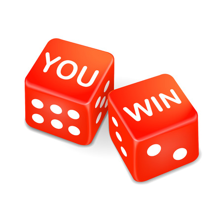 triumphant: you win words on two red dice over white background