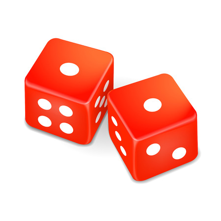 wager: two red dice isolated on white background Illustration