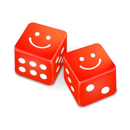 jack pot: caras sonrientes en dos dados rojos aislados sobre fondo blanco