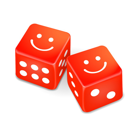 jack pot: smiling faces on two red dice isolated on white background Illustration