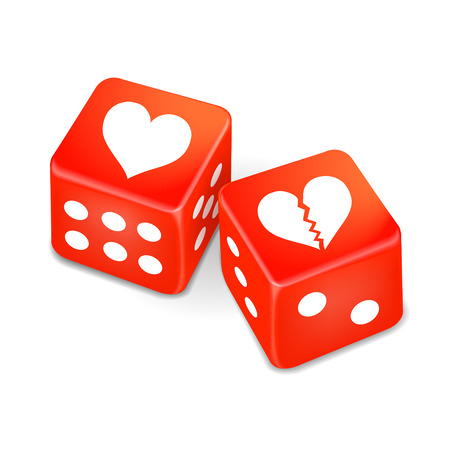 risky love: hearts on two red dice isolated on white background