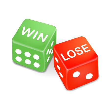 jack pot: ganar y perder palabras en dos dados aislados sobre fondo blanco
