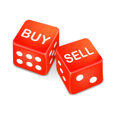 business opportunity: buy and sell words on two red dice isolated on white background
