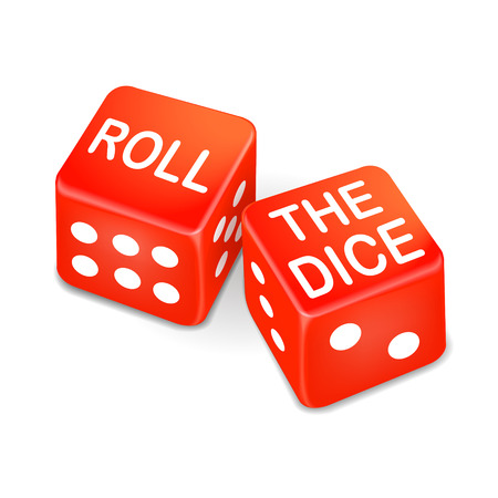 jack pot: roll the dice words on two red dice isolated on white background