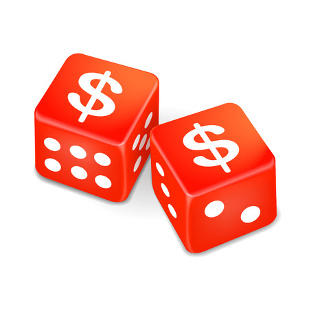 wager: money signs on two red dice isolated on white background Illustration