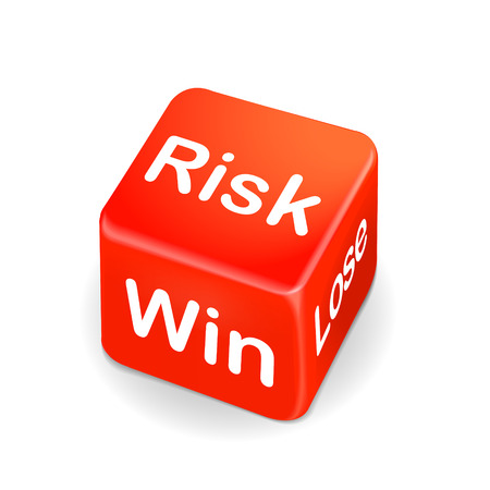 jack pot: risk, win and lose words on red dice isolated on white