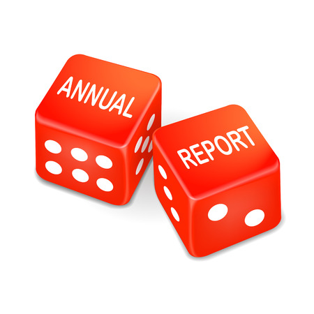 year financial statements: annual report words on two red dice over white background Illustration