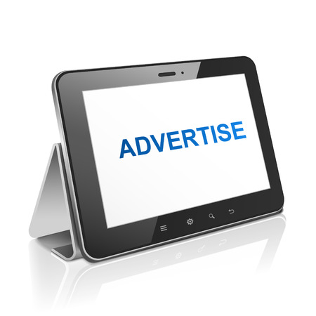 tablet computer with text advertise on display over white Stock Vector - 30654597