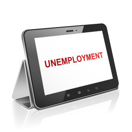 unemployment: Tablet PC con el desempleo de texto en la pantalla en blanco Vectores