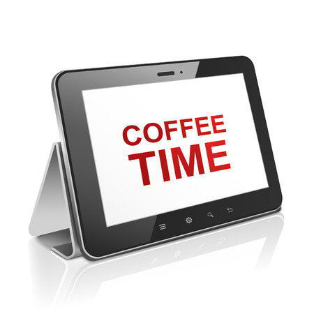 palmtop: tablet computer with text coffee time on display over white