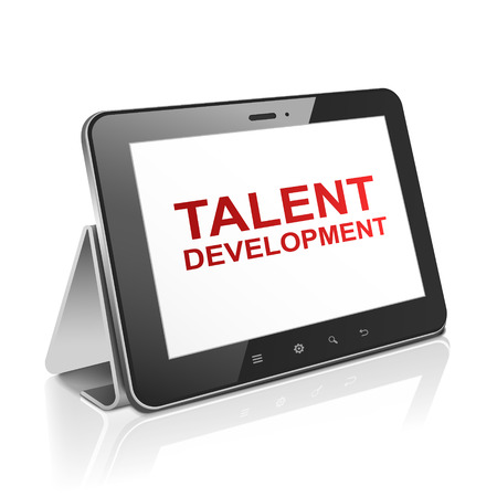 palmtop: tablet computer with text talent development on display over white