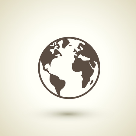 transnational: retro ecology concept flat icon with earth element over brown background Illustration