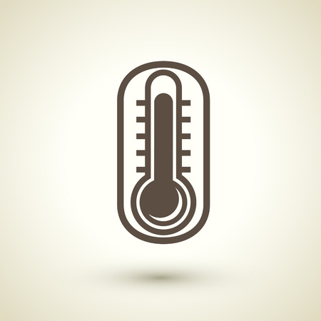 digital thermometer: retro flat design icon with thermometer element over brown background