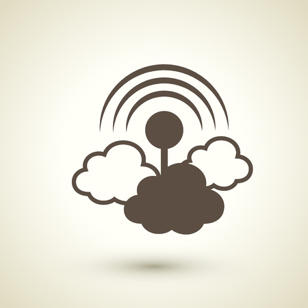 retro flat design icon with cloud computing element over brown background Vector