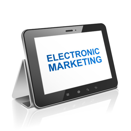 tablet computer with text electronic marketing on display over white Stock Vector - 30654998